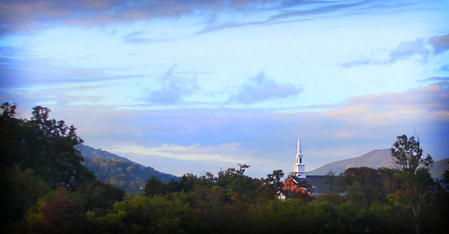 May I also add that we were just a stone's throw away from where my husband and I were married, 13 years ago? Here's a picture I snagged that is the view of the steeple of the church in which we were married.  We didn't know that you could see it from The Trivium, so it surprised us. The Trivium has very picturesque views around their property.