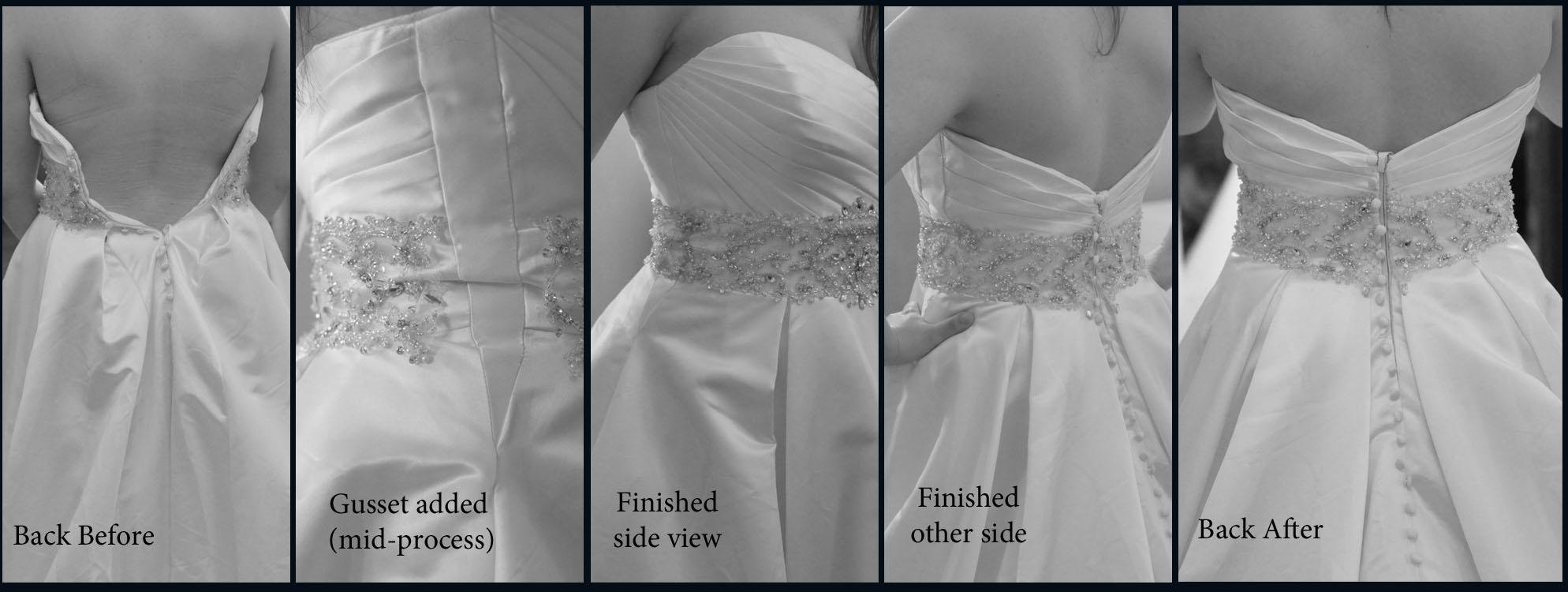 But what if your gown is too small, and you don't like corsets? This is an example of a gown that was too small initially, but was made to fit beautifully with side gussets.  The bride didn't want to lose her zipper and buttons- she was in love with her buttons! We added the side gusset with perfectly matching fabric, and then hand beaded the extension of the sash.  You cannot tell that the gusset isn't original to the dress.