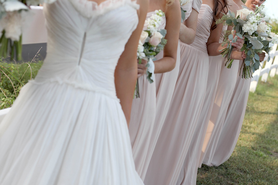 We steamed the gowns, and spot cleaned as needed. Accidents happen, (oops! ;)