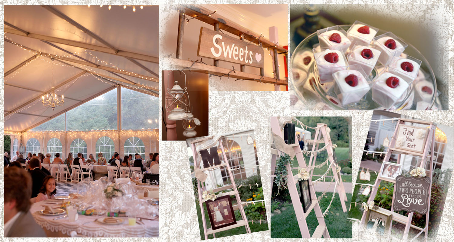 Here are some decor details, and their glittering tent.