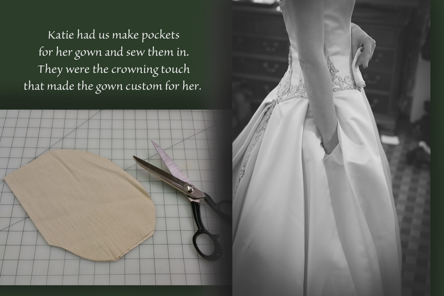 The pockets were not visible because of the lay of her pleats. You could only see them when she used them.