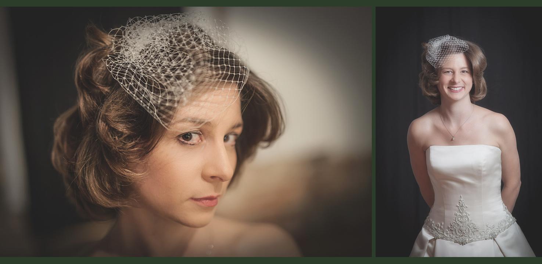Katie is modeling her custom made birdcage veil that we designed for her.