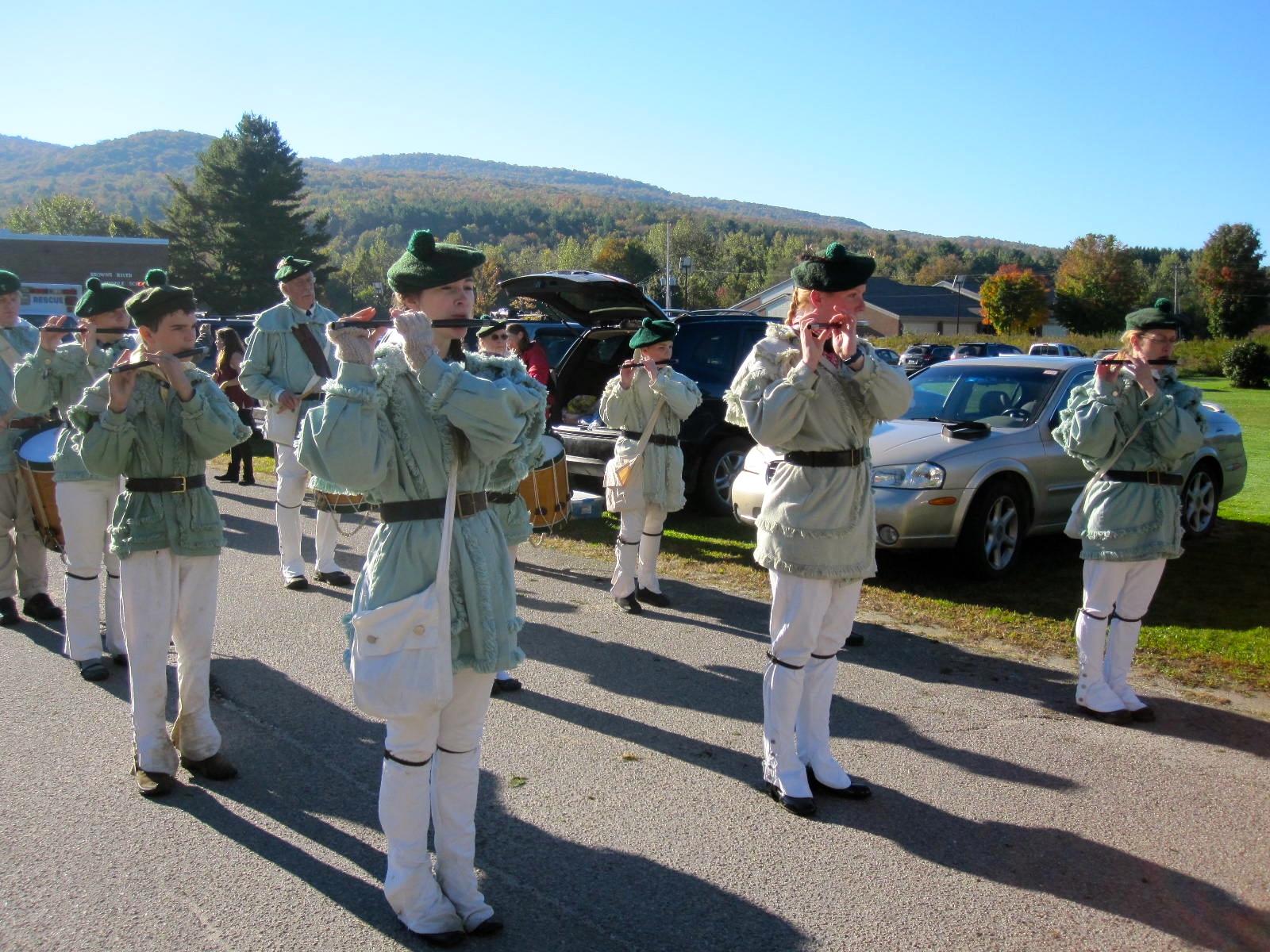 Parade prep - Corp practicing Battle Hymn & Harriott.JPG