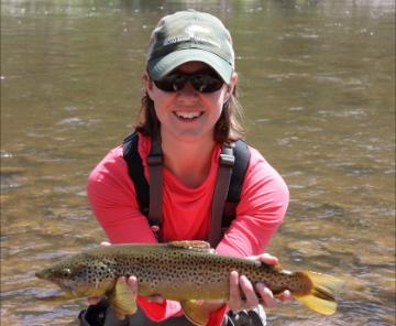 Ellen with a brown trout