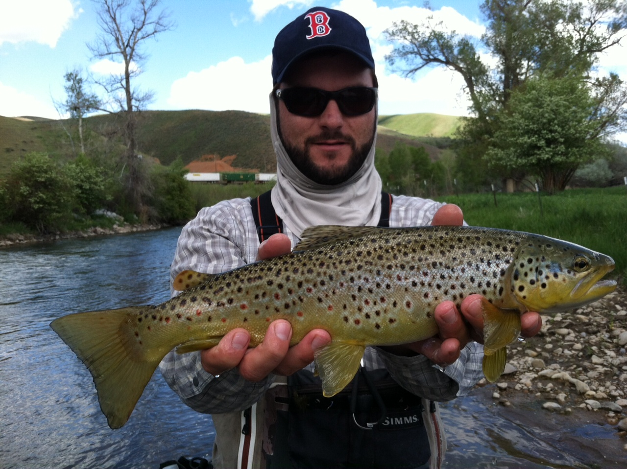 PRGS guide, Jimmy with a nice brown trout on the Weber River
