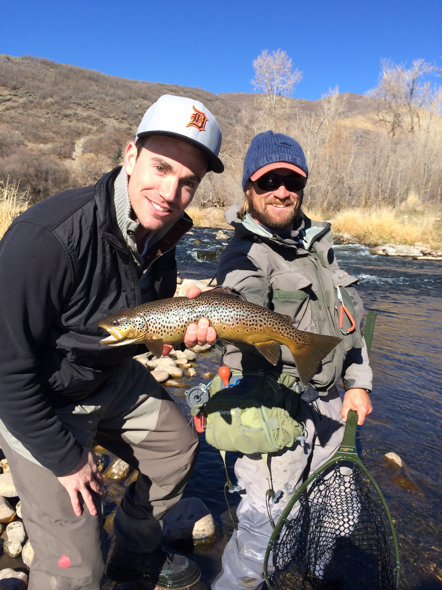 Jeremy holding a nice brown trout on middle Provo River