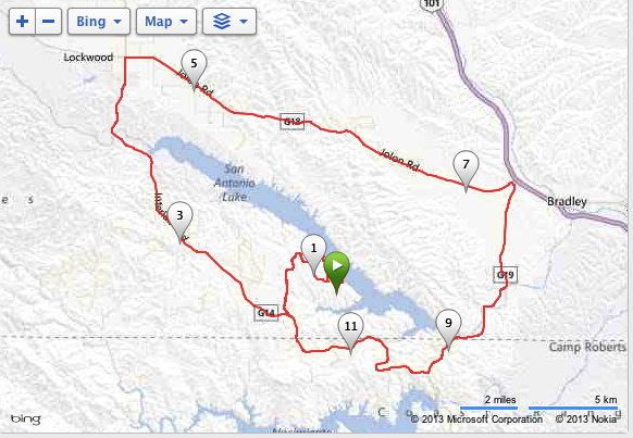 """Just one simple lap around the lake.... (map markers show 15 minute intervals. """"5"""" means 5x15minutes = 1:15)"""