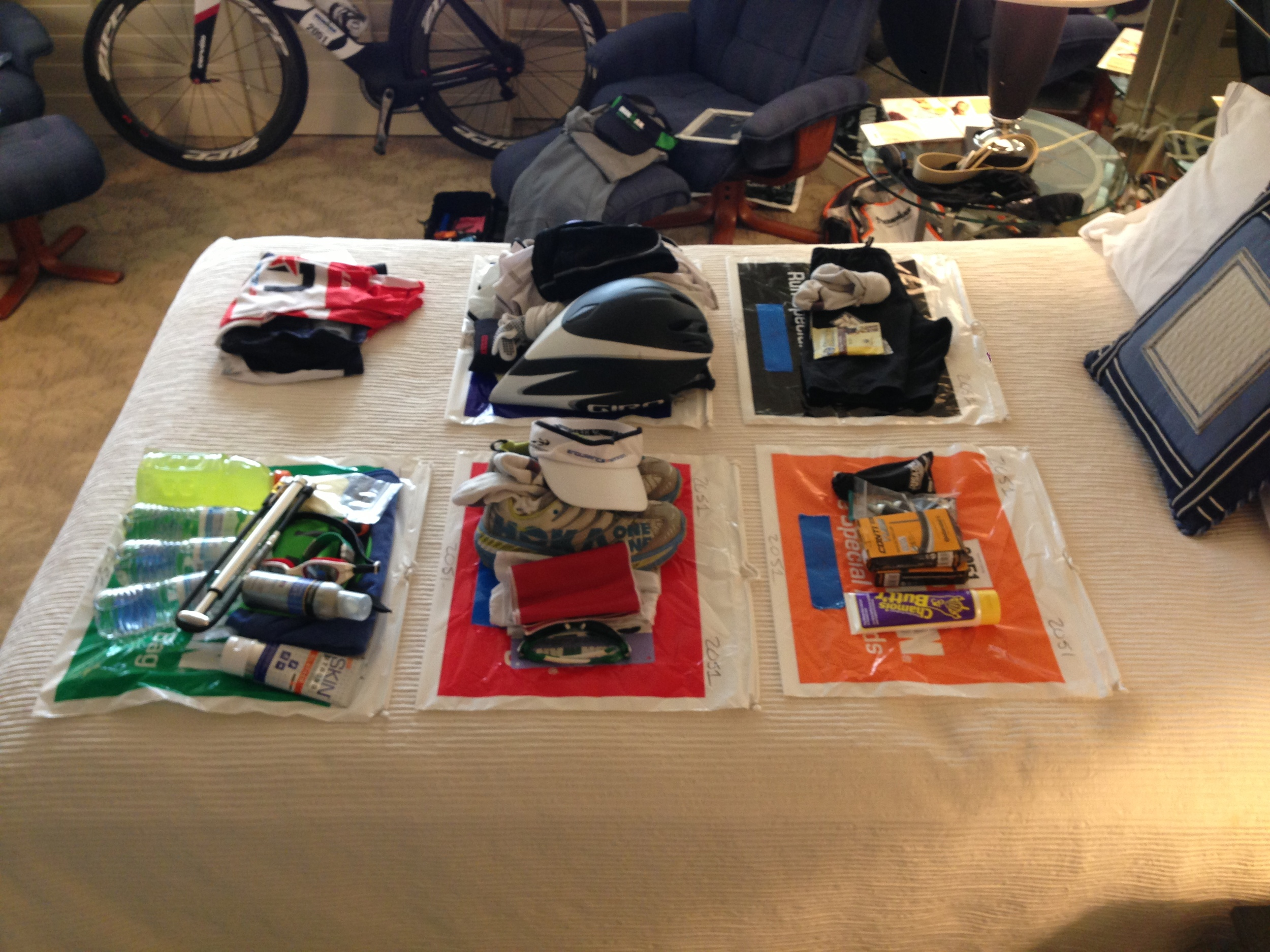 I stack everything on top first to make last minute checks in the morning easier before departing for the race.