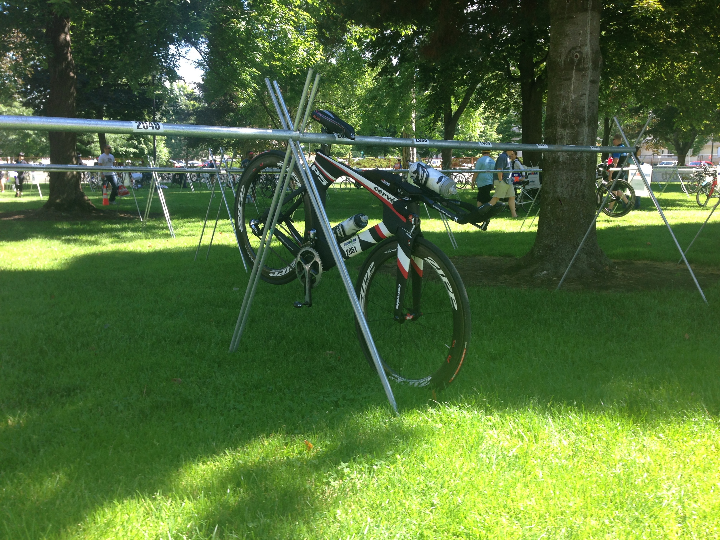 Bike racked in my numbered spot.