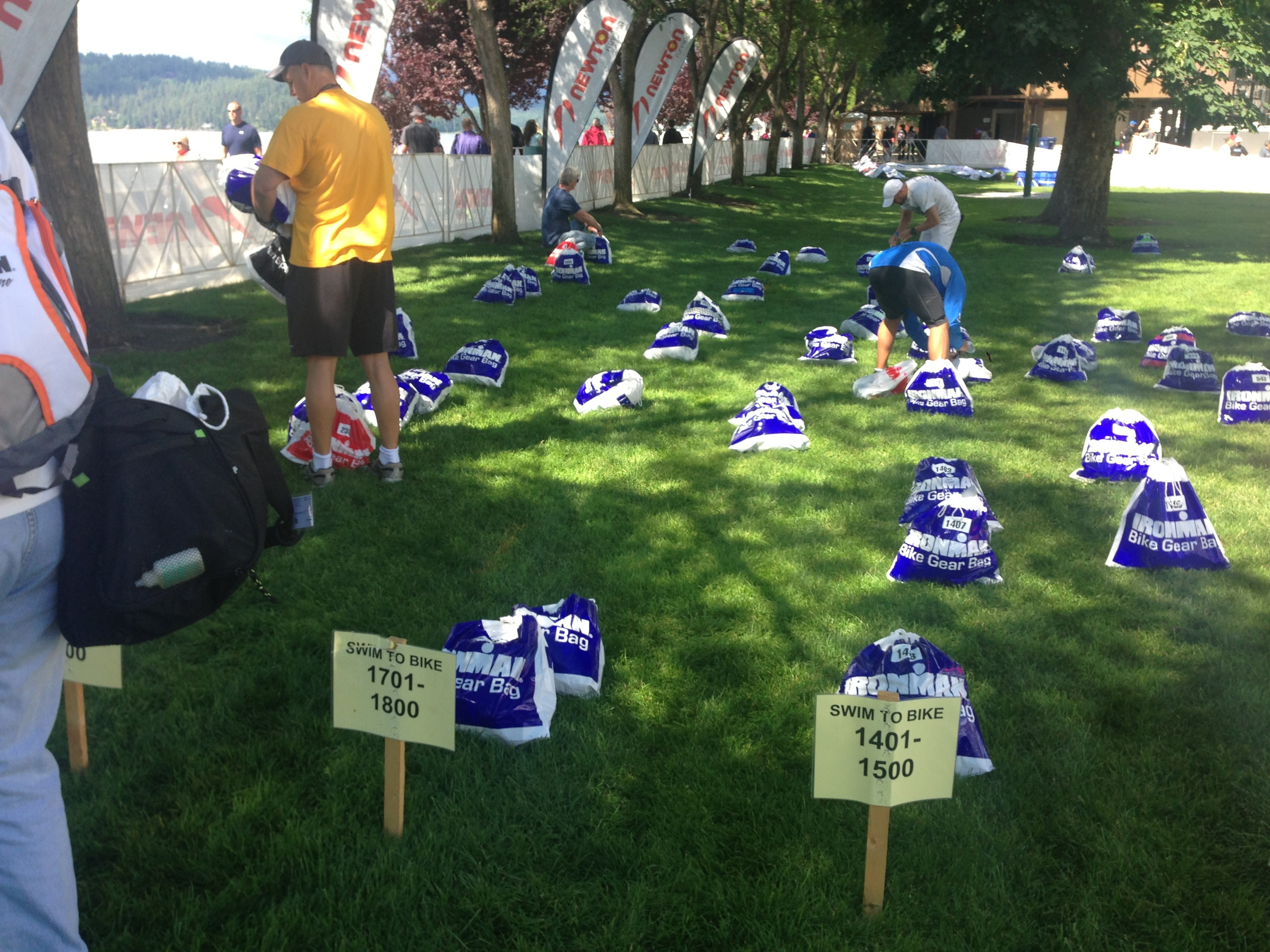 Bike bags starting to line up in little numbered rows. Run bags were done the same at another spot on the grounds.