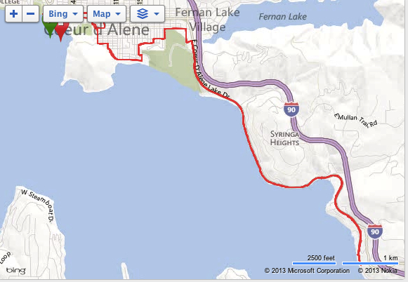 The course is two 13.1 mile out-and-backs. I thought of it as four 6.5 mile repeats.