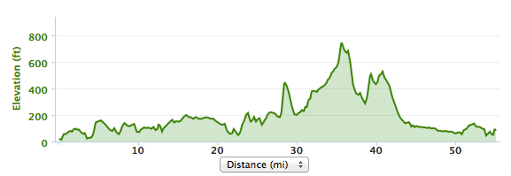 The first jagged climb at about mile 28 sorta hits you in the face. You see it coming from along way out. The year before, it had people walking. This year, it was sort of empty.