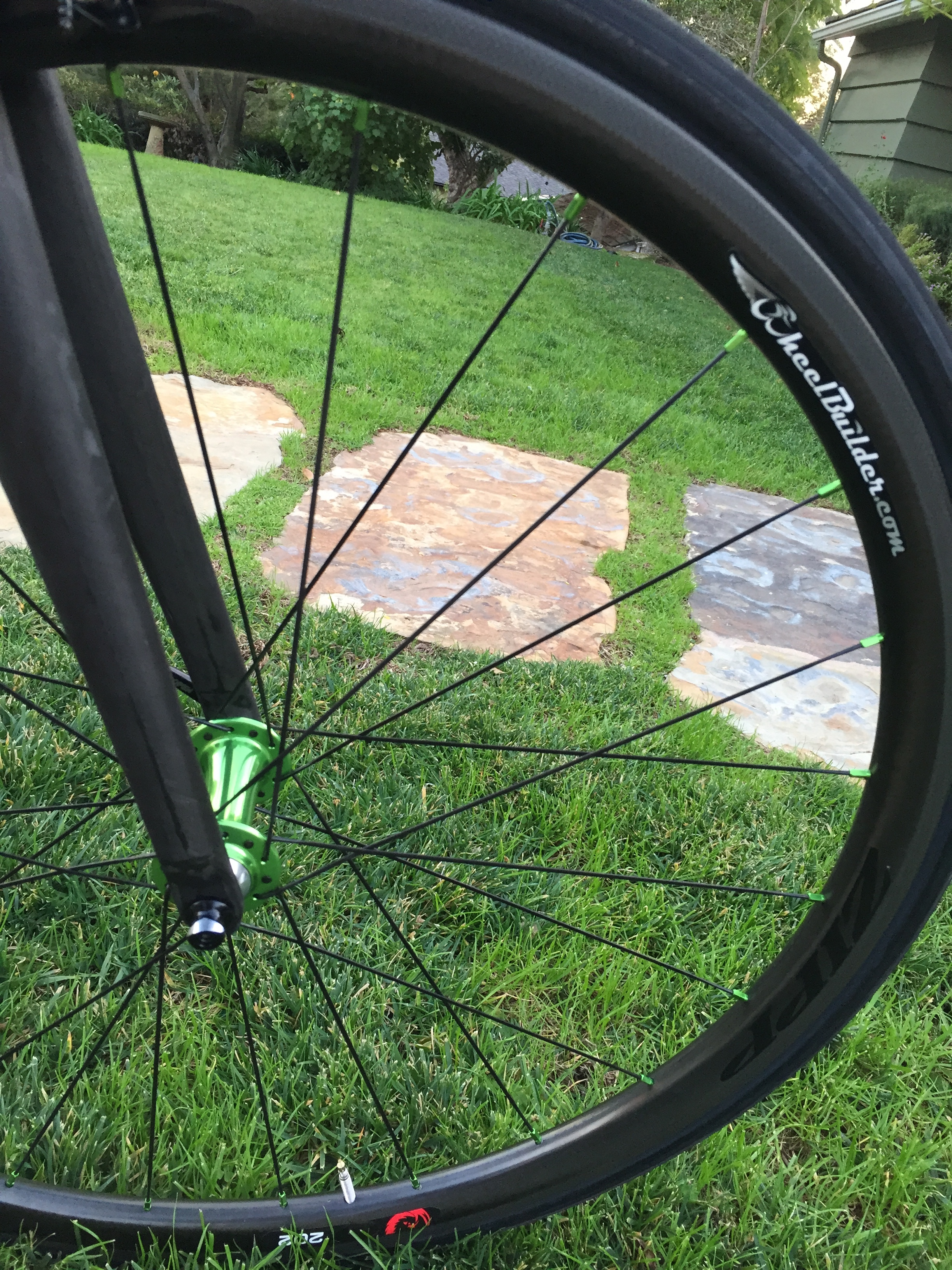 I love the Chris King sour apple.  The guys at  wheelbuilder.com  went above and beyond on this wheel build.  They had the spoke nipples custom anodized to match the hub.  :)  They are hypnotic when I look down at them on the road.