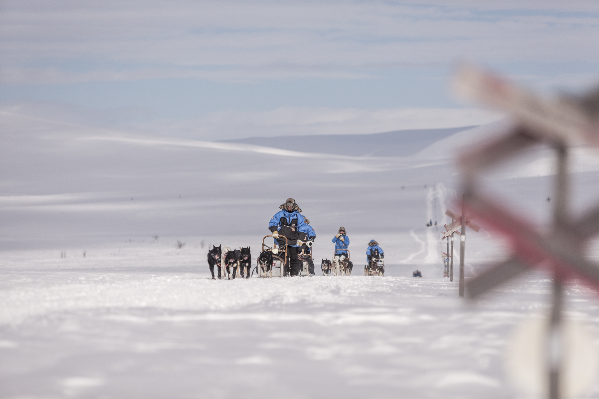 We cross the unmarked border from Norway into Sweden early on Day 3 of Fjällräven Polar. (Photo by Håkan Wike for Fjällräven International. All rights reserved.)