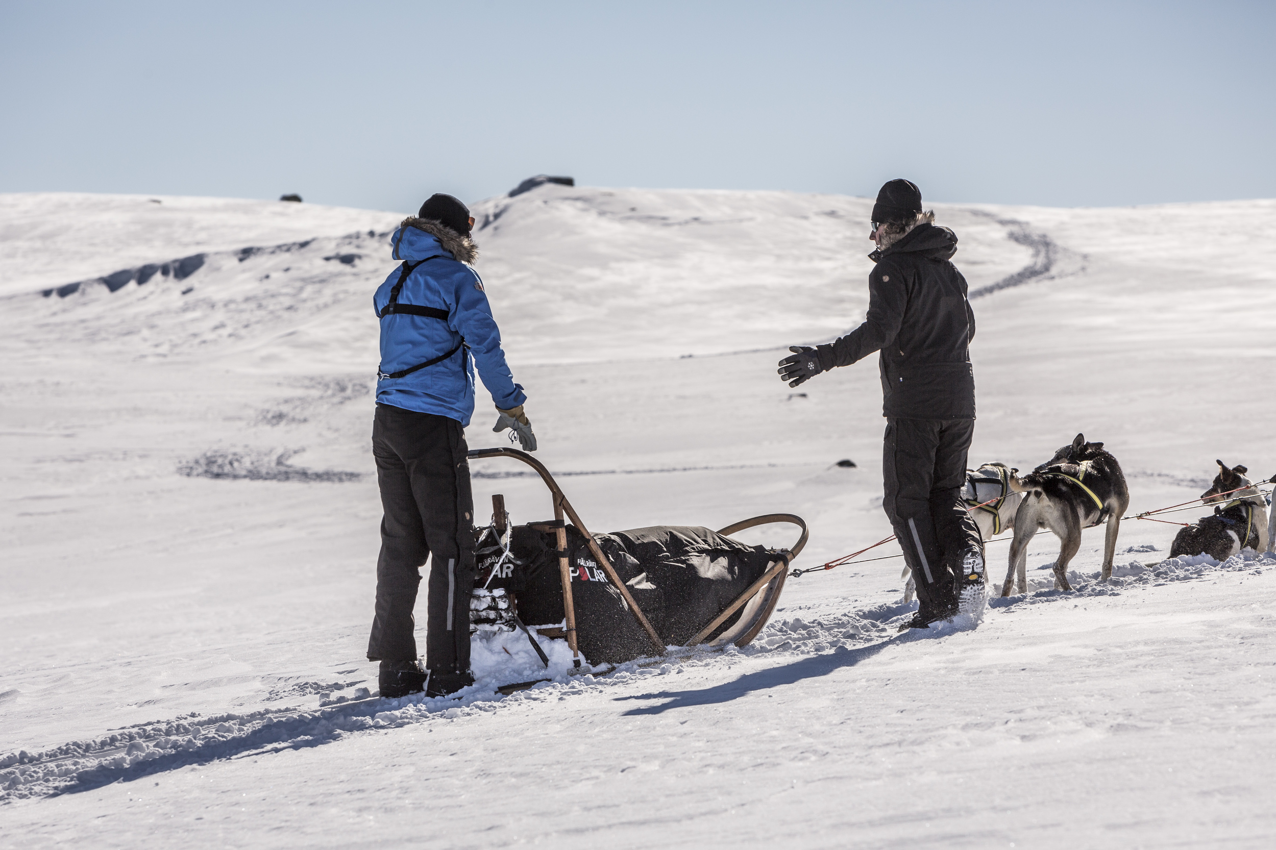 Our mushers, experts in each husky's temperament and capabilities, make adjustments to our dog teams on the fly when necessary. Photo by Håkan Wike for Fjällräven International. All rights reserved.)