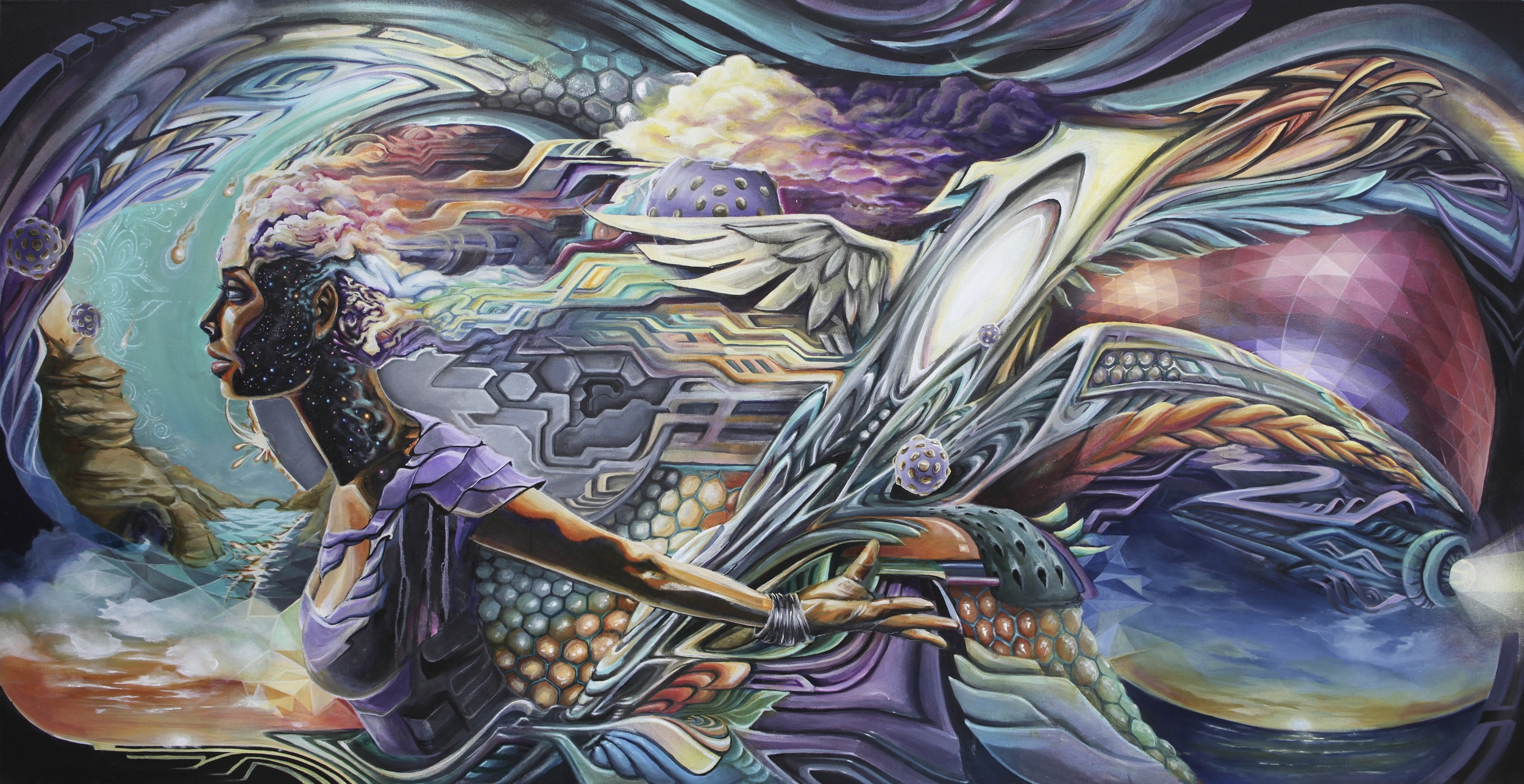 Quantum Leap  Acrylic on Canvas// 91cm x 183cm// 2013.  {Rachel Mandala, Seth McMahon, Kevin Lowry, Dan Hampe}