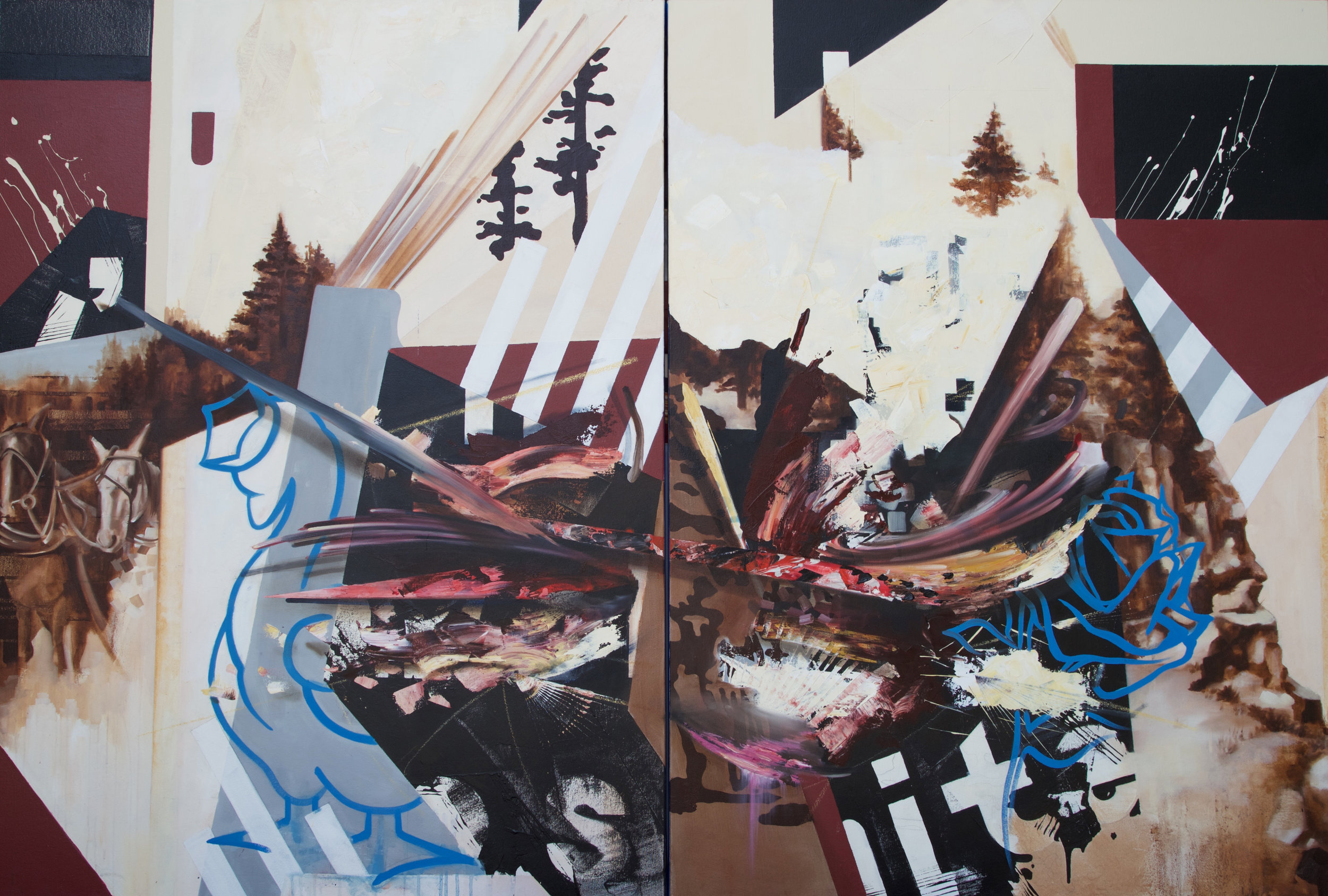 """The Golden Goose has a Rose...    Oil on Canvas (diptych)   48"""" x 72"""""""