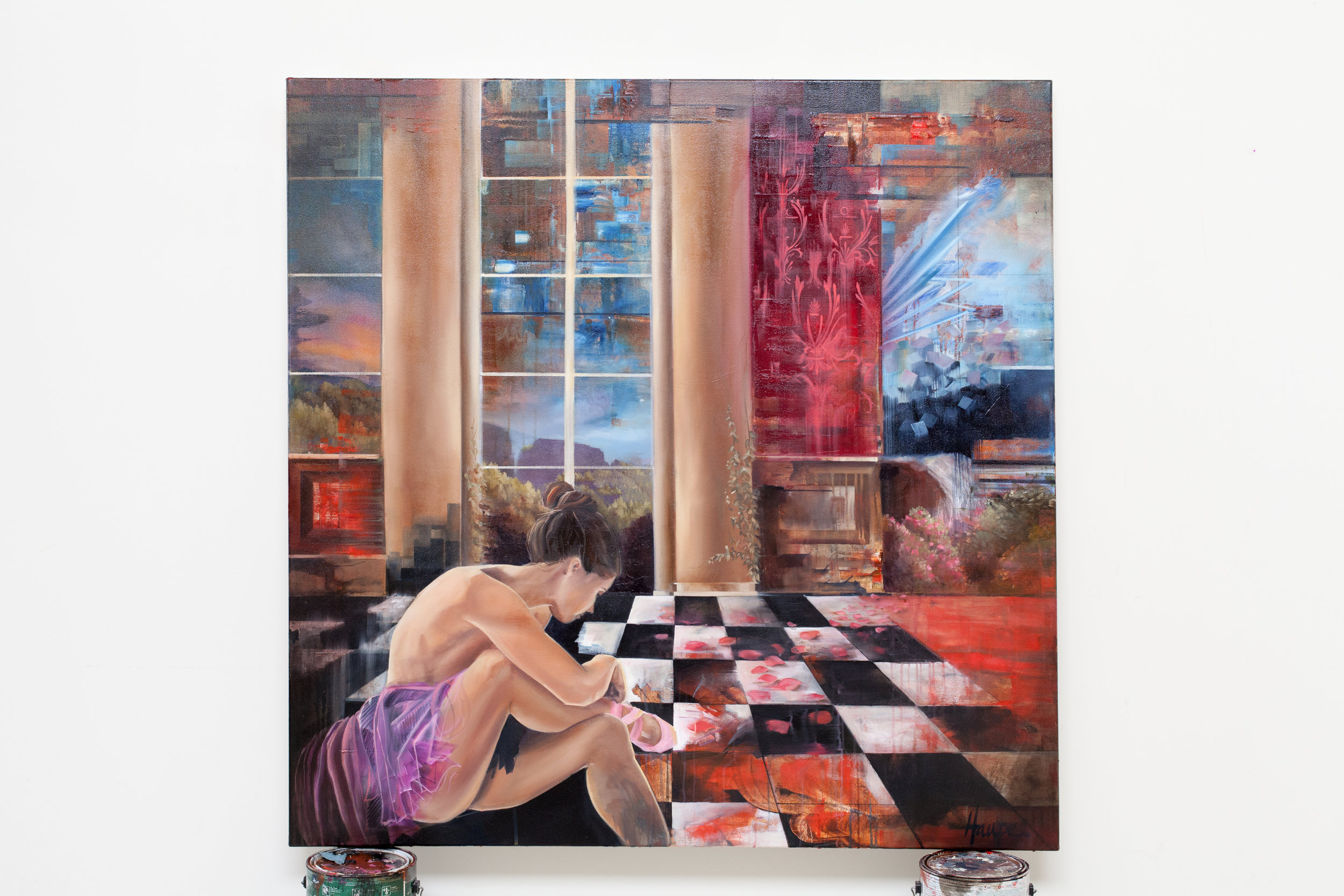 "Rose Petal Ballet. Oil on Canvas. 48"" x 48"""
