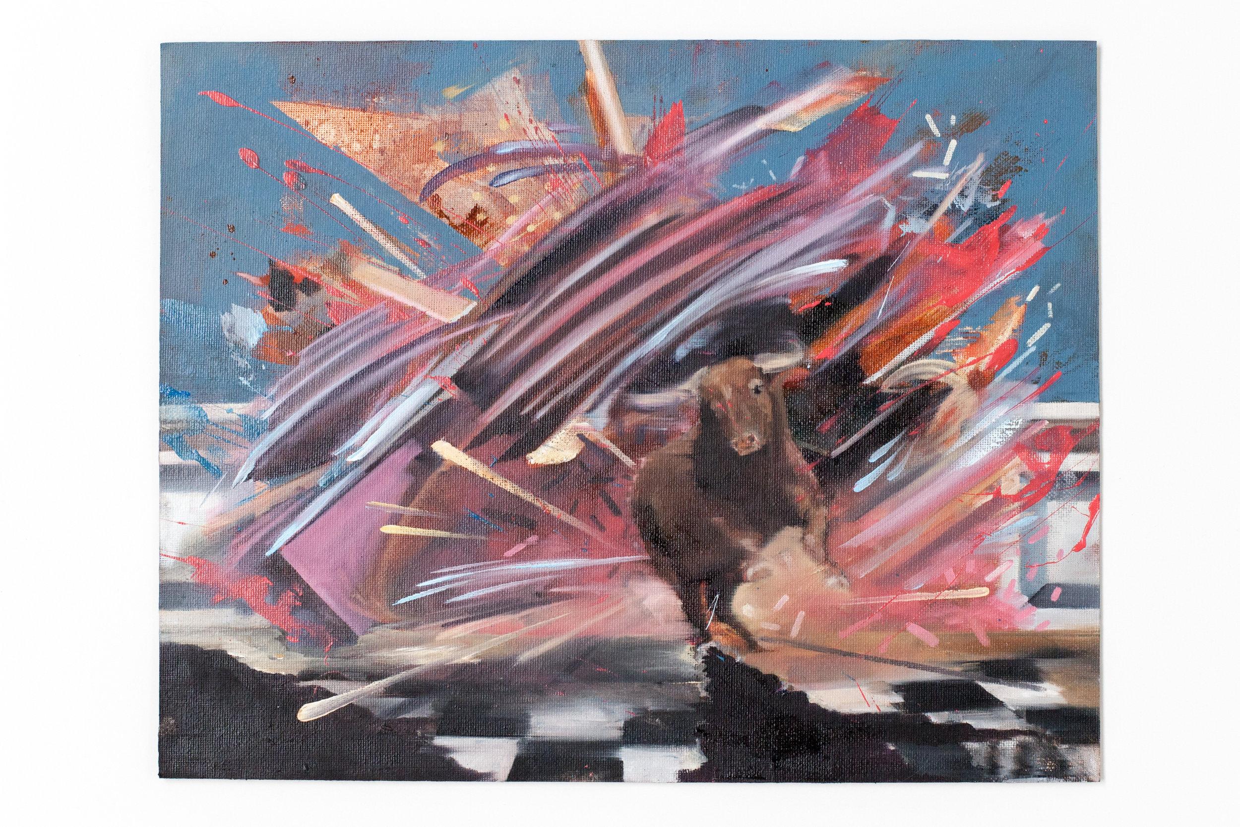 """Raging Bull. Oil on Panel. 11"""" x 14"""""""