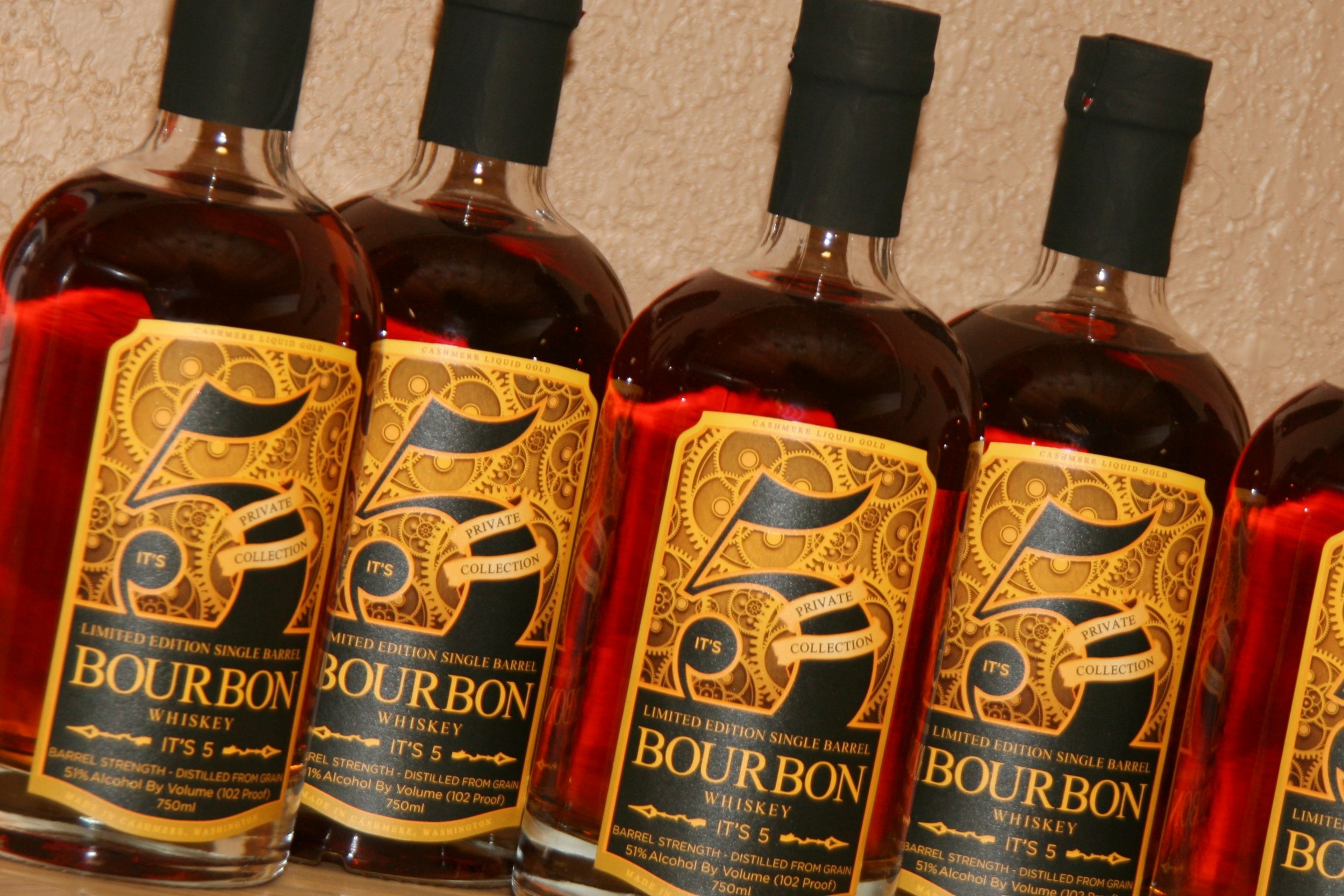 Limited Edition Bourbon Whiskey, designed for It's 5 Artisan Distillery in Cashmere, WA