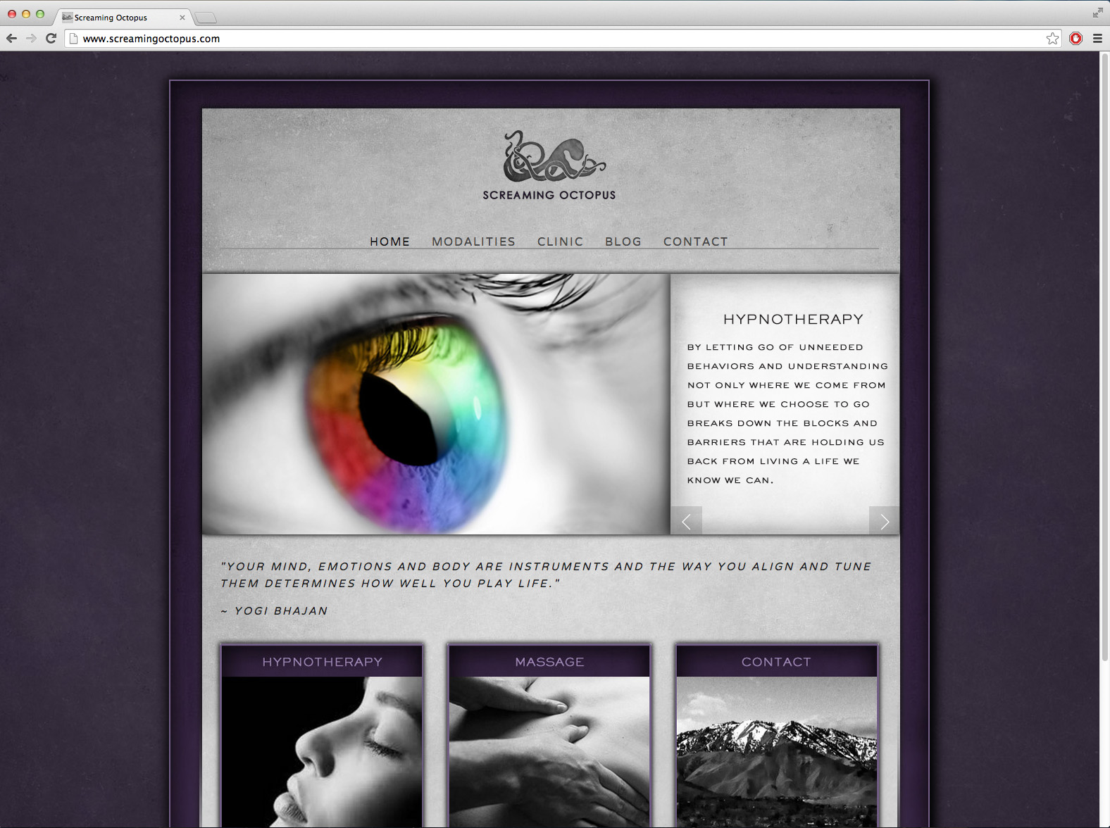 New 2014 website adapted to focus on client's shift toward spirituality and advanced techniques for deeper physical and mental therapy.