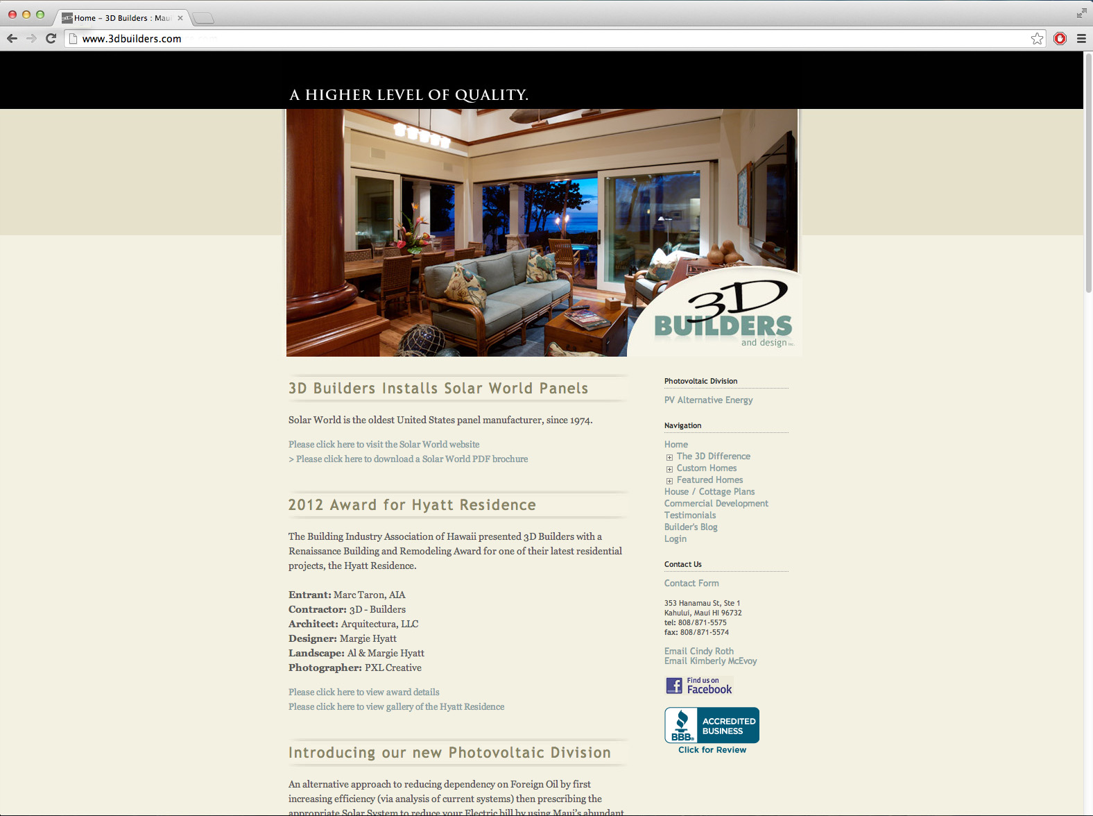 Previous website initially built for 3D builders