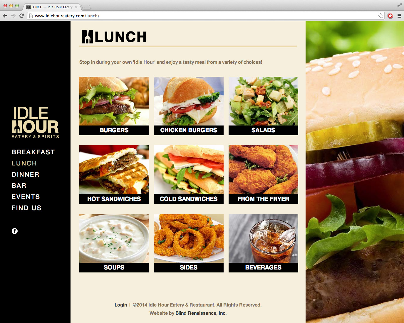 Breakfast, lunch, and dinner menus are easy to navigate with enticing imagery