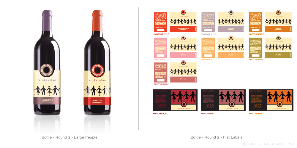 Refined layout for bottle design using color-coded capsules, variety stripe and circle of friends icon.