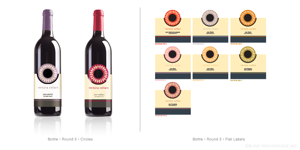 Final steps in label design to call out the varieties through use of color.