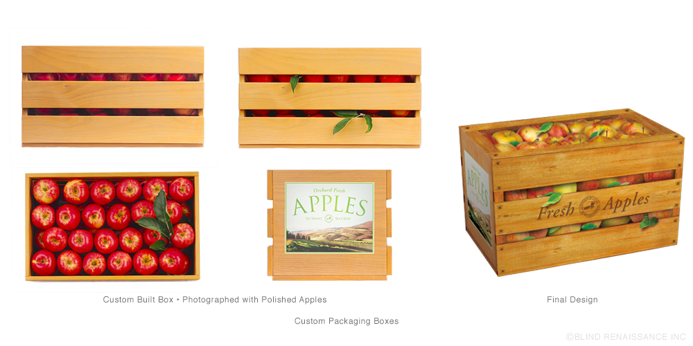 BR built a custom apple box that was photographed and applied to packaging to make closed boxes look like they were carrying fruit.