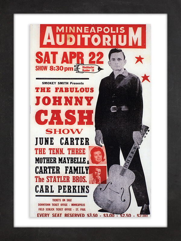 Johnny Cash, 1967  Hatch Show Print, based in Nashville since 1879 and still in business, helped define the look of generations of music marketing, thanks to the signature typography of its letterpress printing process, in which individual letterforms are locked into place on press plates and then inked to transfer to poster board. Sotheby's auctioned off a rare copy of this poster from the estate of Johnny Cash and June Carter Cash in 2004.
