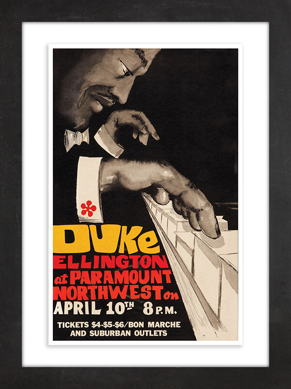 Duke Ellington, 1973  An ornate movie theater converted into a concert hall, Portland's Paramount Northwest Theatre has hosted everyone from Frank Sinatra and the Beach Boys to David Bowie and Madonna. But the arrival of jazz great Duke Ellington in 1973 was seen as sufficiently historic that promoters commemorated the show with a limited-edition poster of just 200 copies.