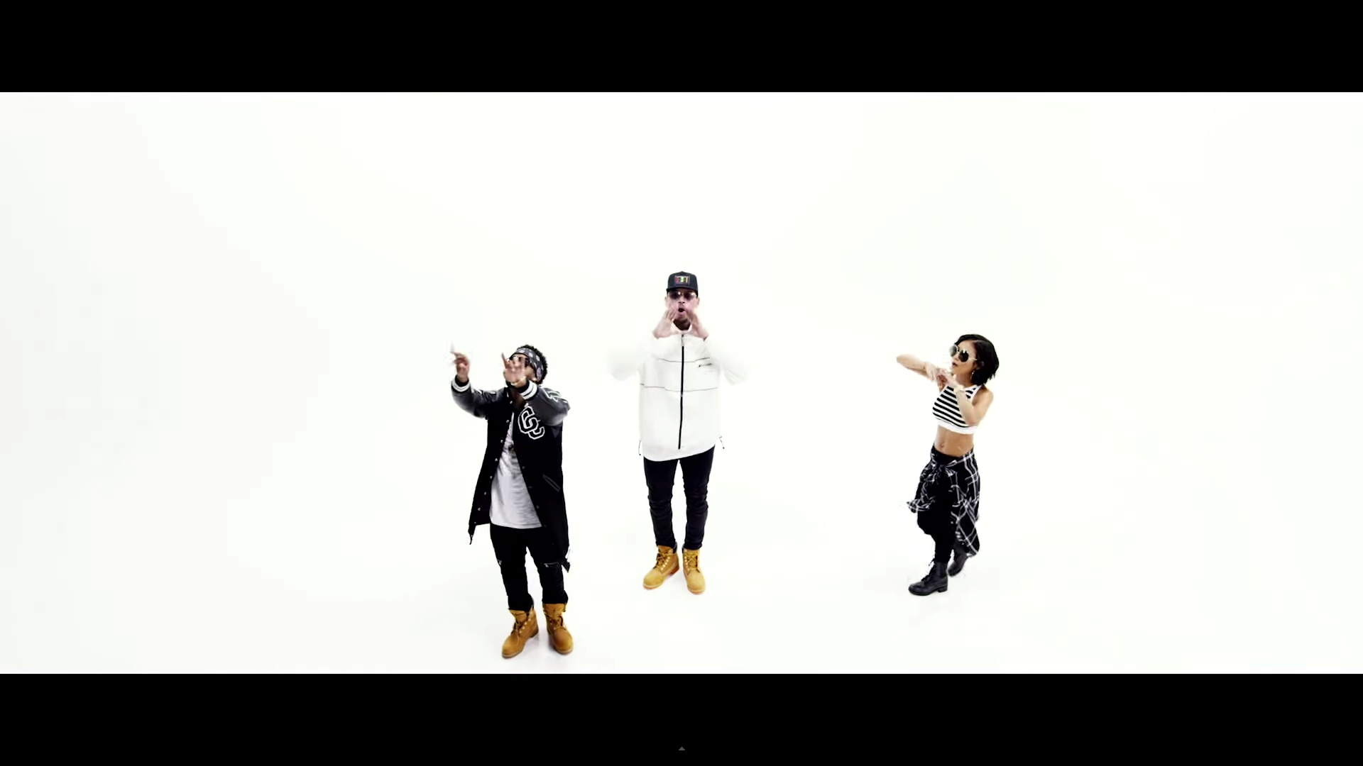 Omarion and Chris Brown and Jhené Aiko in the Post To Be video having fun.jpg