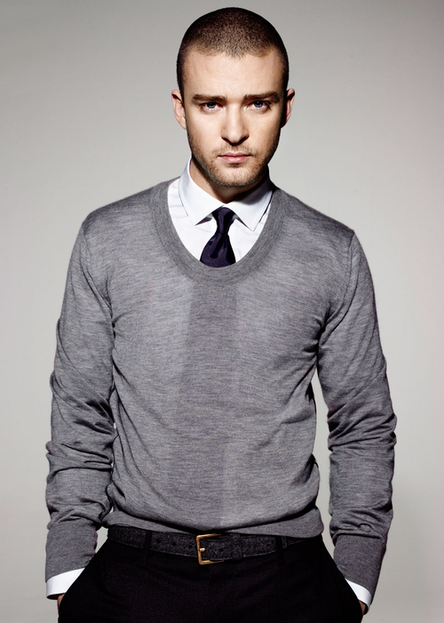 Justin Timberlake looking really hot with a buzzed head with his tie visible through his sweater.jpg