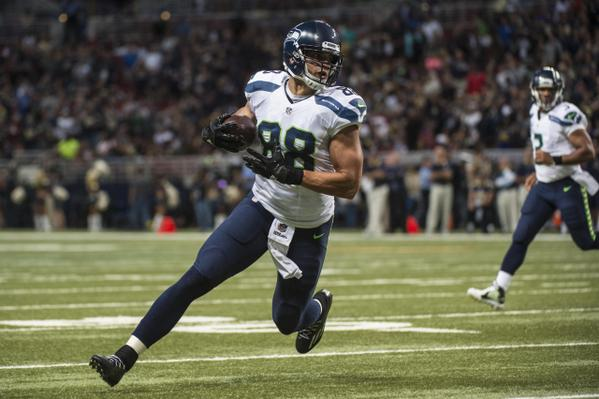 Jimmy Graham looking hot with the football during his first Seahawks game.jpg