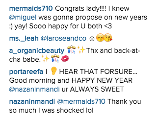 Nazanin Mandi confirming she and Miguel are engaged.jpg