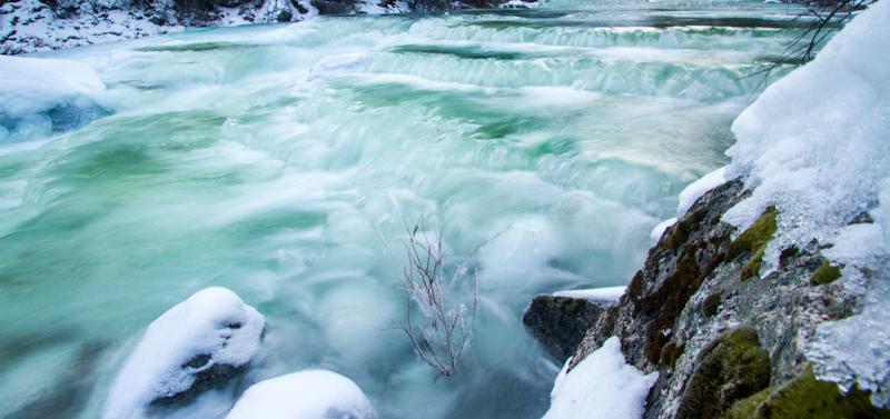 Ice shelves on Big Creek.