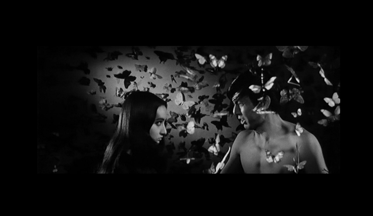 Anne Mari with Jo Shishido amid butterflies in Branded to Kill.