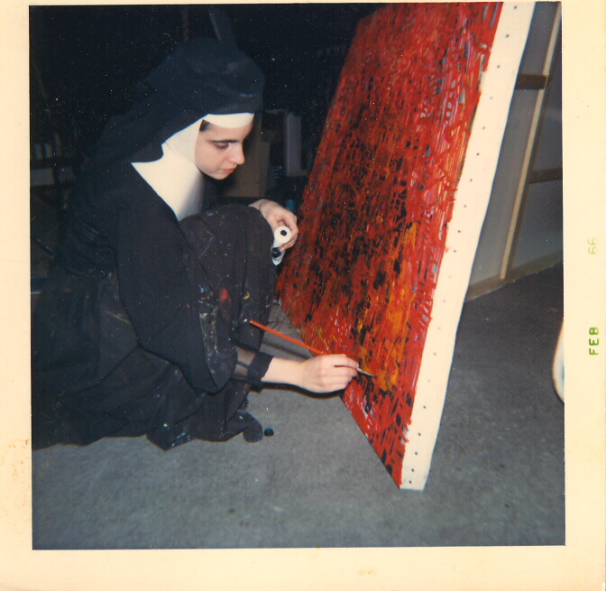 My mom, Sister Irene Angela Gemma Rossini, is seen here in 1966 working on one of her large oil paintings. She would later add Cullen to her name, but never dropped the Rossini.