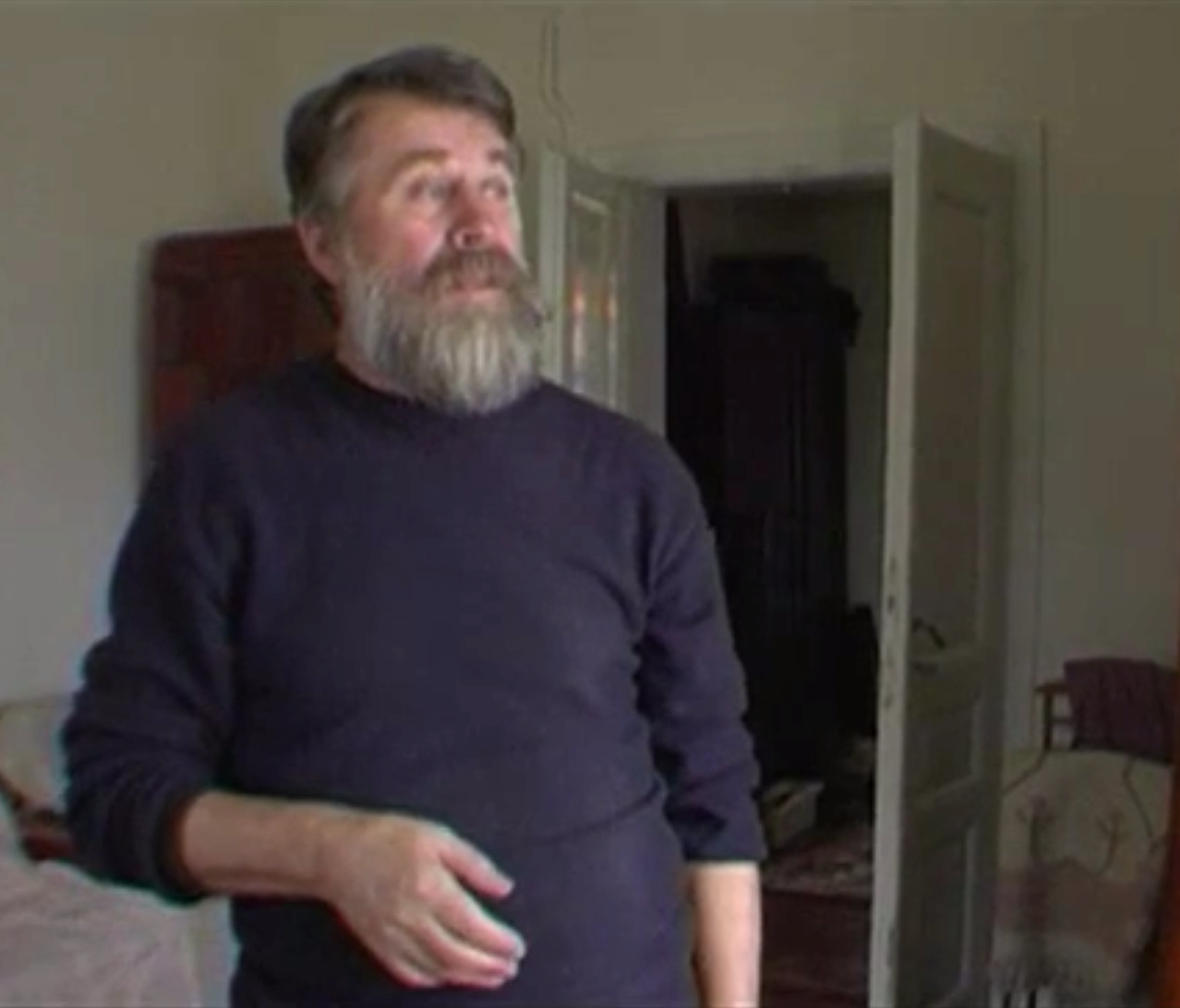 Oleh Lysheha at his home talking about axes in 2011. Tysmenytsia, Ukraine.
