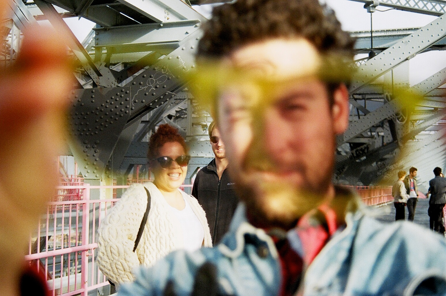 Weaves on the Williamsburg Bridge during CMJ withCalvin Love and crew in the background