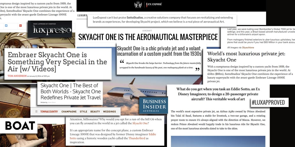 Skyacht One  has received accolades in the design and aviation press around the world.  Stern, Paris Match, Maxim, Town and Country, Boat, Robb Report,   Forbes, Business Insider, Altitudes,  and more