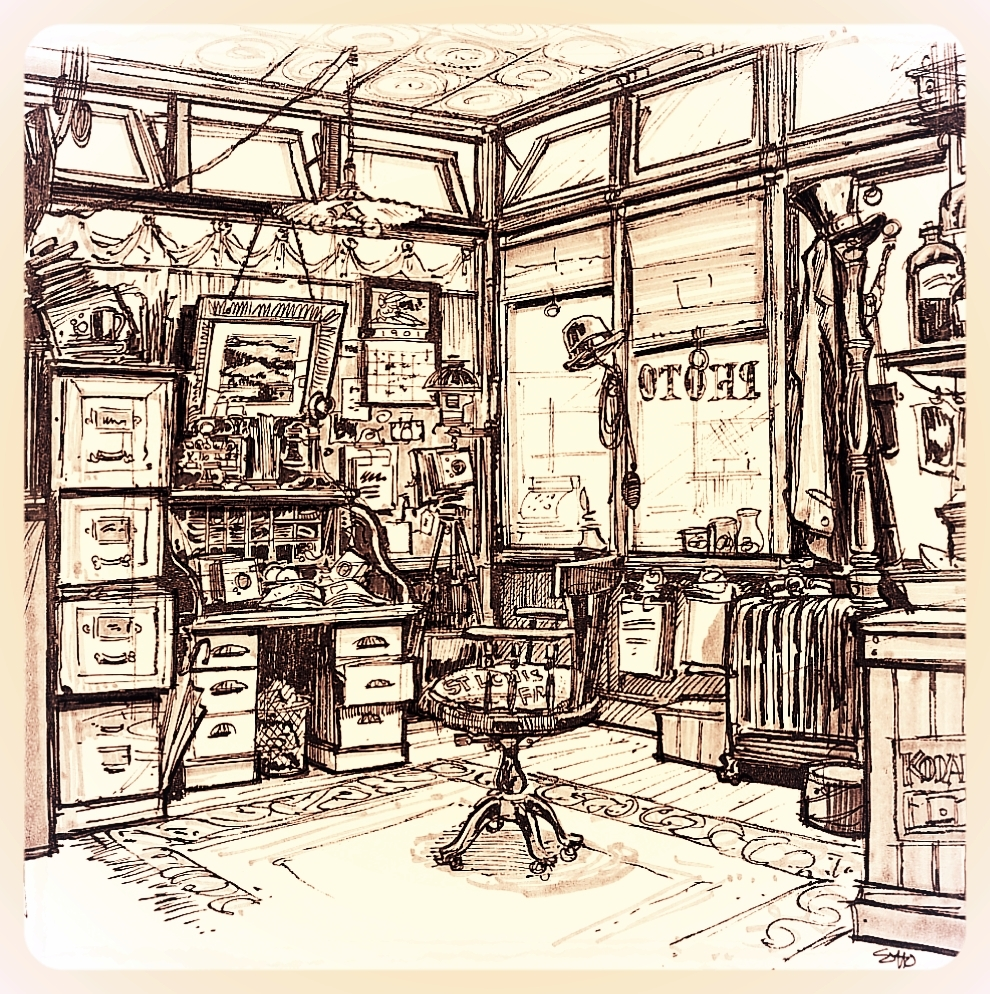 Living the details. - The image gallery highlights the richness of Main Street, but also includes Sotto's own intricate sketches of those facades and their details. You can see how close the final product was to those early thumbnails and sketched elevations. Interior sketches, such as the office of the Camera Shop were generated by Eddie to ensure the right intent was achieved when buying the props. Sotto did a final placement of each object in the office himself, pretending to be the proprietor. When satisfied, he laid the rimmed spectacles and coffee cup down on the desk, locked the room and never returned.This