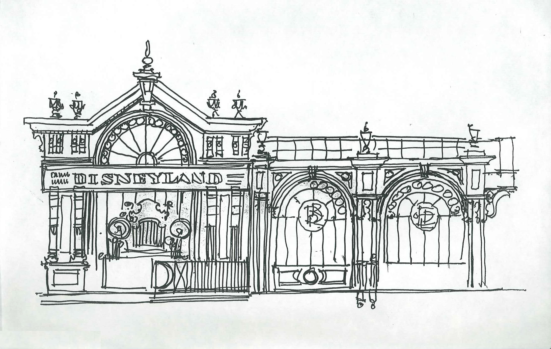 First Sotto elevation sketch of the Station marquee facing the Disneyland Hotel©Sotto