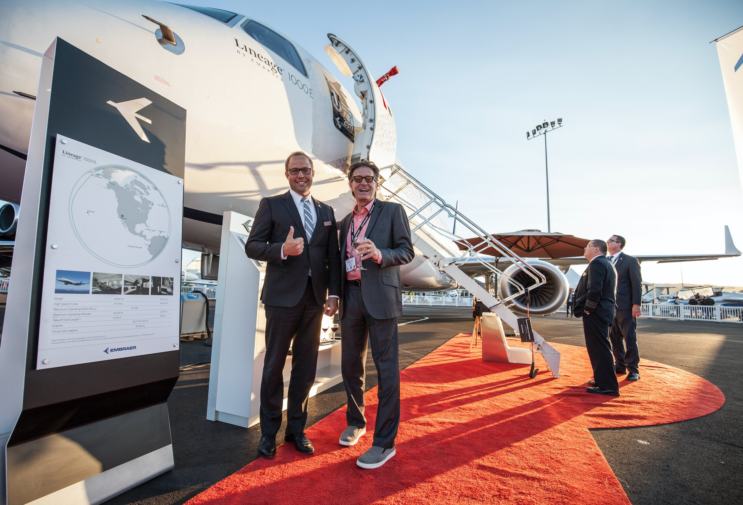 Embraer Design VP Jay Beever and Eddie about to board Embraer's Lineage 1000e.