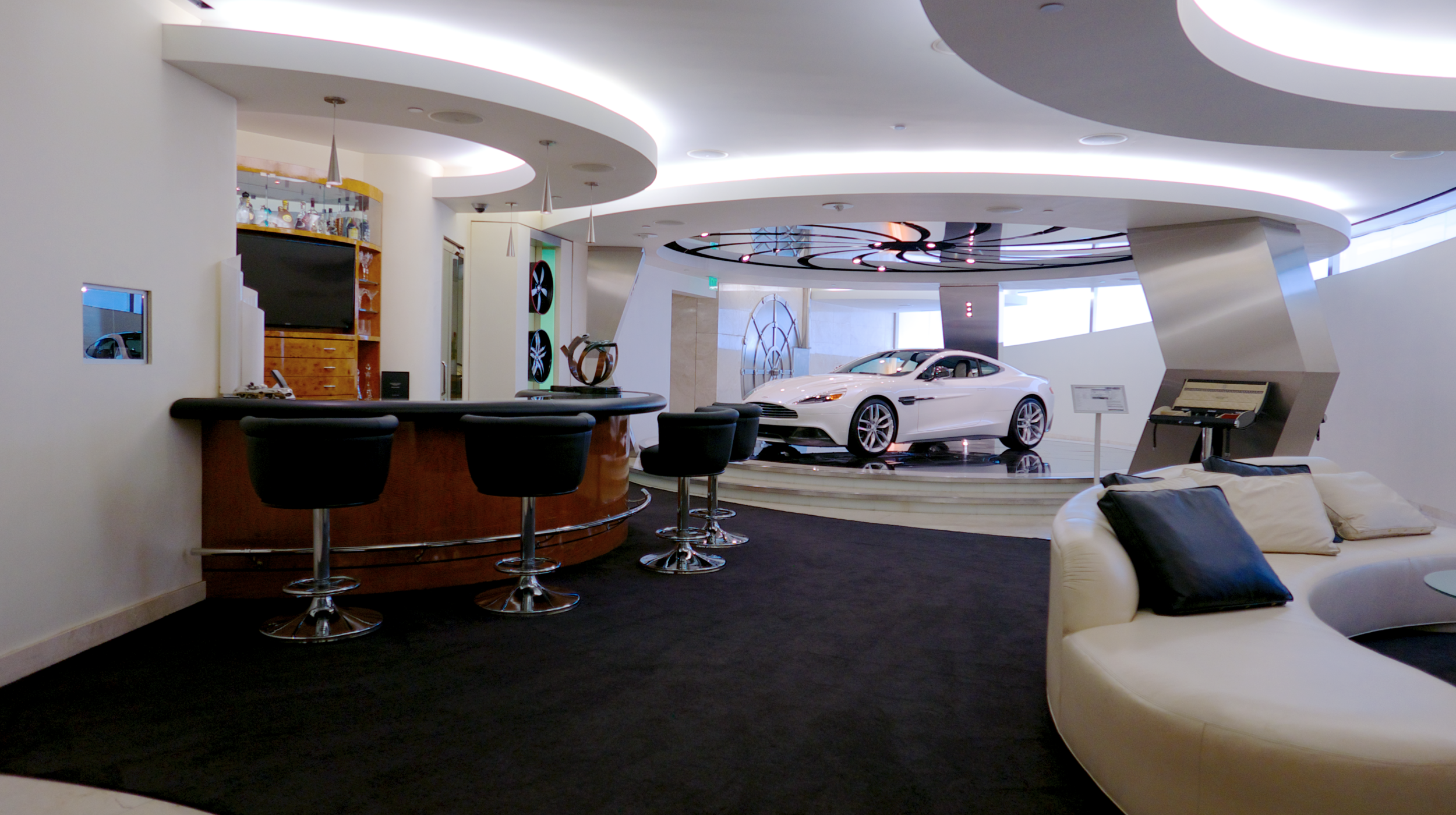 Galpin's  ClubAston  is a bond inspired private, immersive experience controlled by thumb reader and airlock.