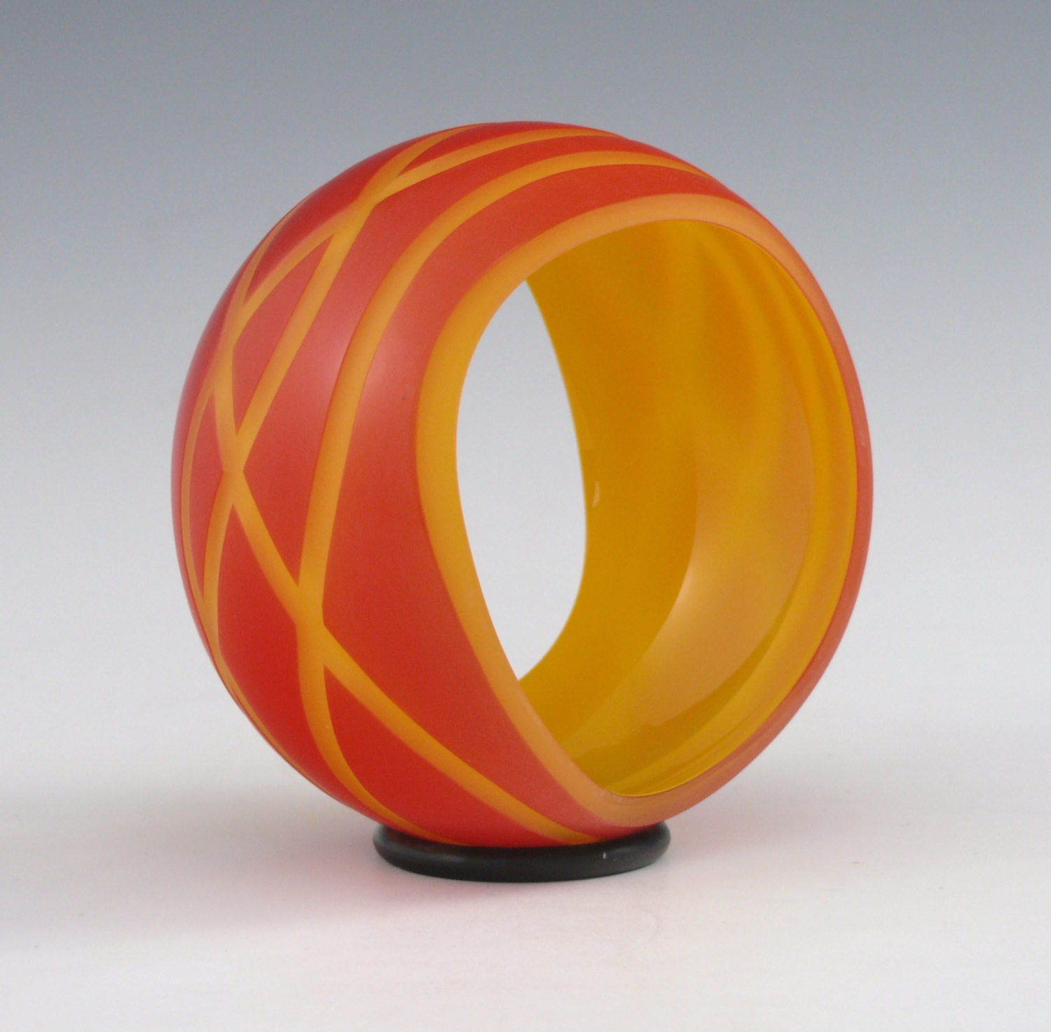 "Blown & Carved Glass  4.75"" x 2.2 5""   2014"
