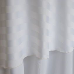 "White Stripe  Available In:  Rounds: 120""  Banquets: 90x132 and 90x156"