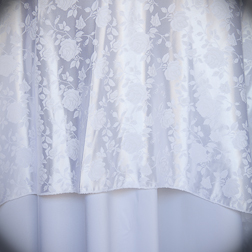 """White Floral Damask  Available In: 120"""" Round"""