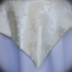 """Ivory Floral Damask  Available In: 84"""" Square and 120"""" Round"""